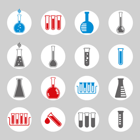 color drop: Chemical and medical flask icons vector set. Illustration