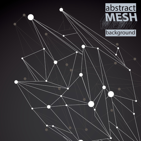 deformed: Abstract deformed vector black and white background, chaotic backdrop with symmetric lined object. Illustration