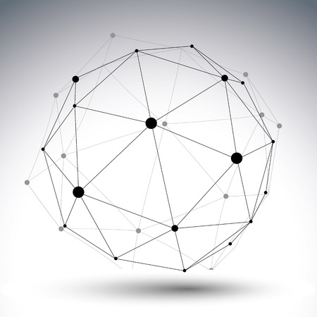 single color: Spherical abstract single color lined 3D illustration, vector digital lattice messy technology object.