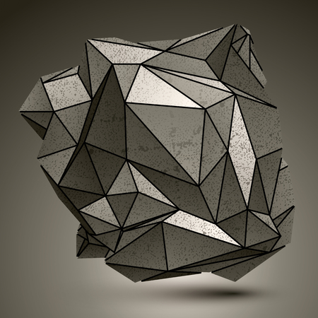 deformed: Deformed complicated metallic 3d abstract object, grayscale asymmetric complex element. Illustration