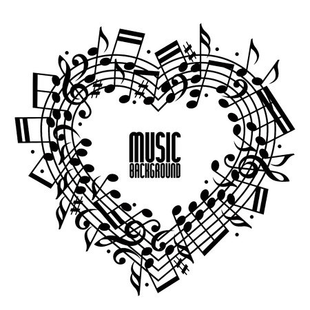 Vector black rounded stave with musical notes on white background, decorative heart shaped musical notation.