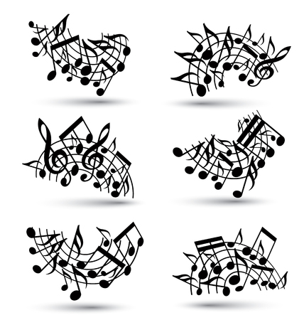 musical notation: Vector black jolly staves with musical notes on white background, decorative major arched set of musical notation symbols. Illustration