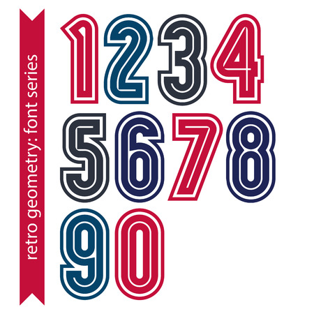 numeration: Colorful regular stripy numeration, black and red vector poster numbers with outline and straight lines. Illustration