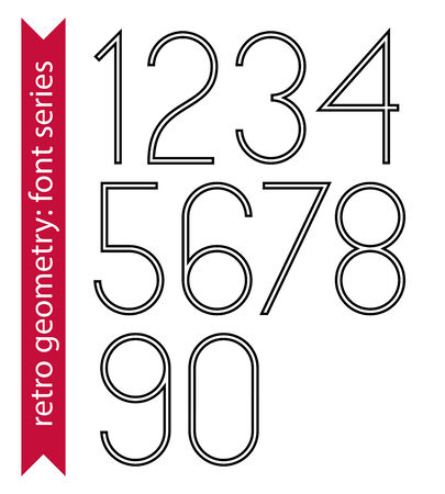 Black slim numbers, single color delicate digits with double lines isolated on white background. Vector