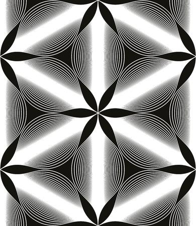 espejismo: Sin problemas de fondo de la vendimia floral, blanco y negro sin fisuras patr�n alineado geom�trica, ilustraci�n vectorial blanco y negro.