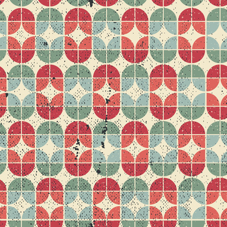 elliptic: Colorful worn textile geometric seamless pattern, vector abstract infinite retro background.