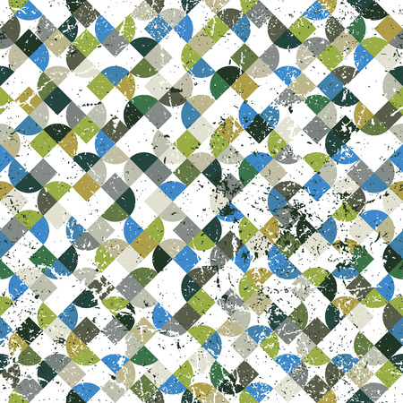 Vector geometric abstract seamless pattern, colorful worn mosaic canvas.