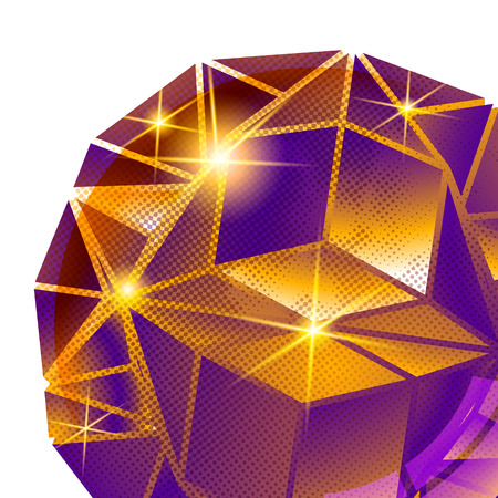 Contemporary background with plastic pixel dimensional sphere created from geometric figures, shiny dotted futuristic fond.