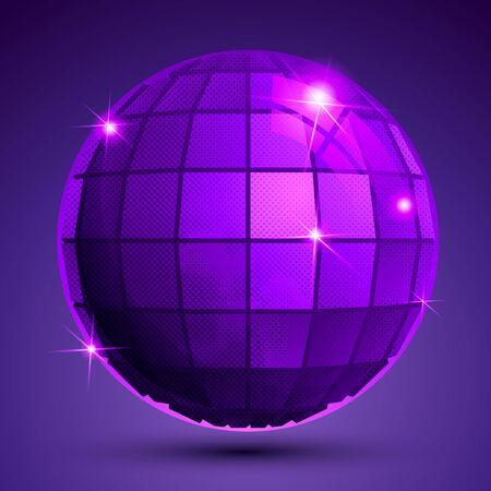 glisten: Grained plastic purple flash globe, bright geometric glisten  figure.