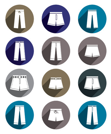 breeches: Man jeans and shorts vector icon set.
