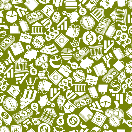 Money signs seamless background, finance theme simplistic symbols vector collections made as seamless pattern. Vector