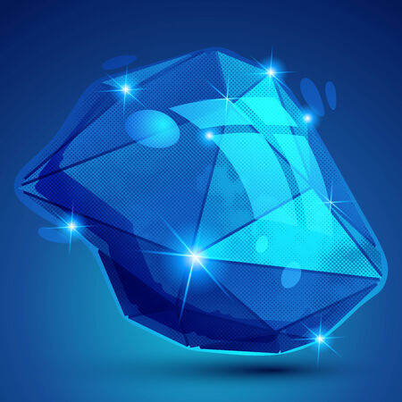 multifaceted: Vector futuristic object with sparkling effect, dimensional textured deformed figure.