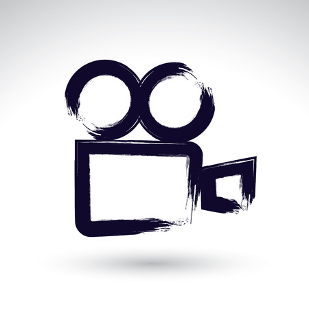 action movie: Realistic ink hand drawn vector video camera icon, simple hand-painted camera symbol, isolated on white background. Illustration