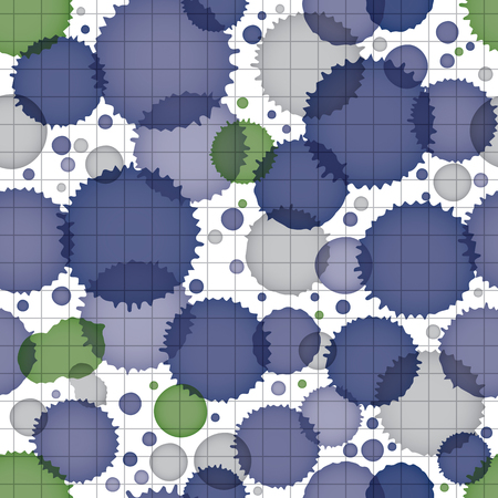 Vector grayscale acrylic abstract spotted endless backdrop, brush painted seamless pattern, graphic creative inky illustration scanned and traced. Vector