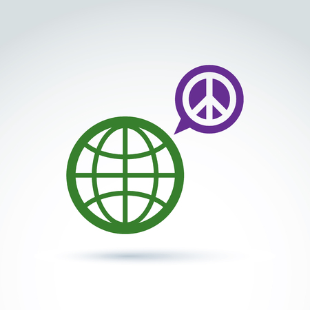 Round antiwar vector icon, green planet and speech bubble with peace sign. Conversation on global peace theme. Vector