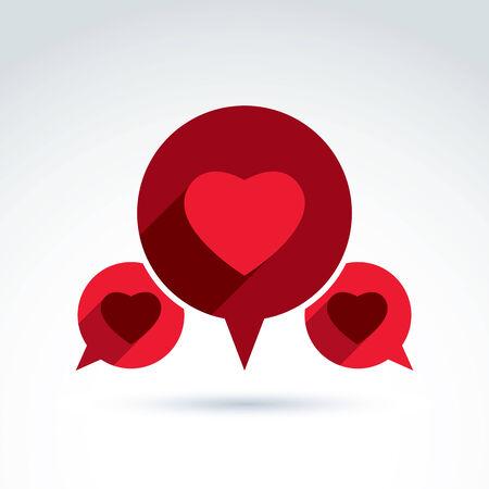 Heart over the speech bubbles icon, vector conceptual stylish symbol for your design. Vector
