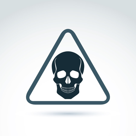 Vector illustration of a human skull in a triangle. Dead head abstract symbol, cranium icon. Caution concept. Vector