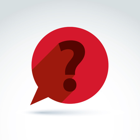 FAQ, ask and answer theme, interrogation. Vector red speech bubble with a question mark.