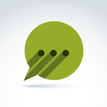 replica: Ellipsis punctuation, analyze and conversation symbol, text message concept. Vector green speech bubble with dots.  Illustration