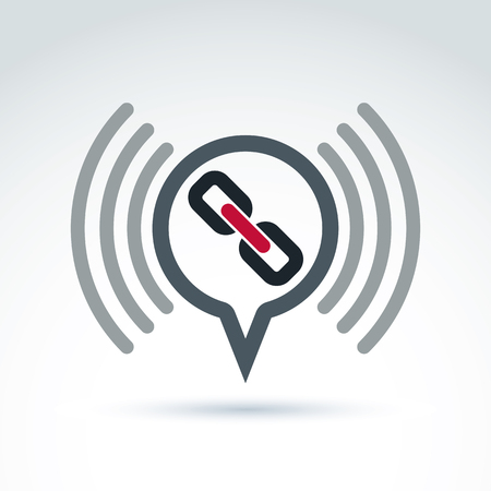coherent: Podcast icon with a link symbol. Chat on social relationship. Vector speech bubble sign.