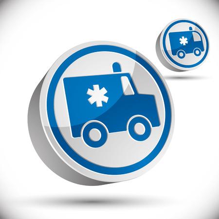 hospice: Ambulance car 3d vector icon.