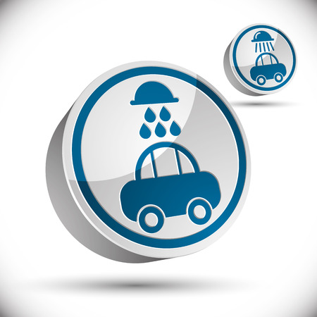 picto: Car wash 3d vector icon. Illustration