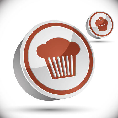 pictogramme: Cupcake icon, 3d vector icon. Illustration
