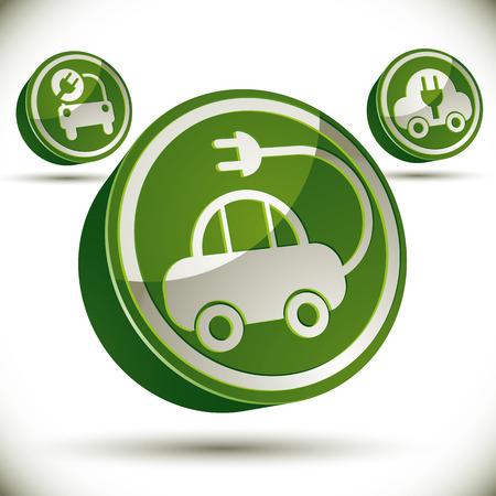 pictogramme: Eco car icon, 3d vector.