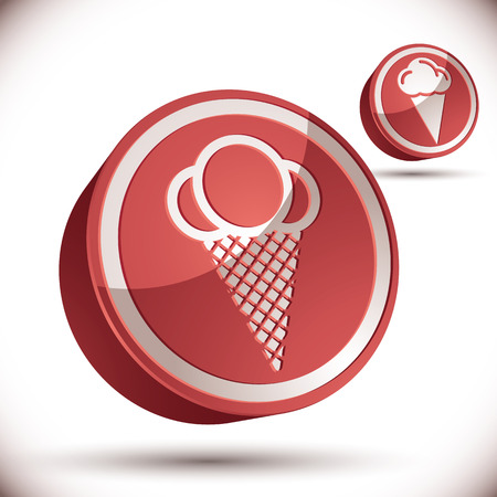 pictogramme: Ice cream icon, 3d vector icon.
