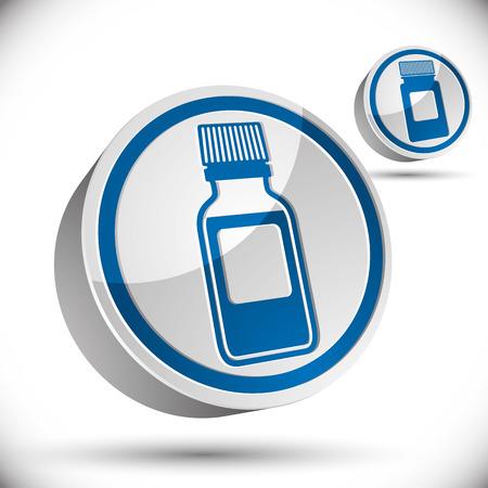pictogramme: Medical bottle 3d icon, vector illustration. Illustration
