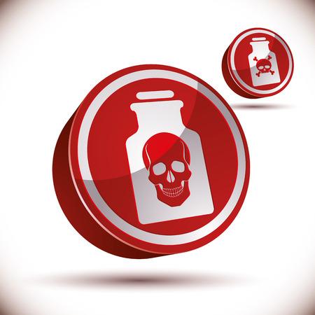 veneno frasco: Botella del veneno con el cr�neo 3d icono, ilustraci�n vectorial.