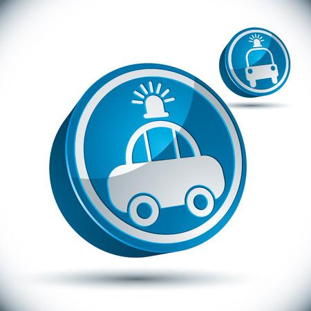 pictogramme: Police car 3d vector icon set.