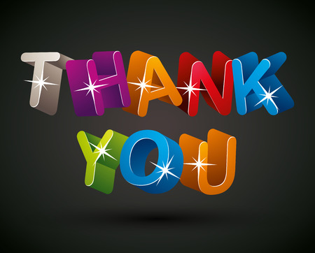 Thank you lettering made with colorful 3d letters over dark background, vector design.