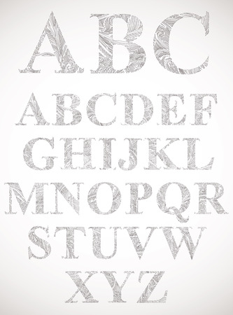 sans serif: Vintage style alphabet, classic shaped letters with floral pattern texture, vector. Illustration