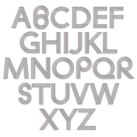 c r t: Retro style alphabet, striped letters vector typeface.