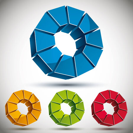 sectors: Abstract 3d round icon with sectors, color versions vector set.