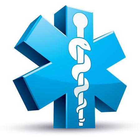 caduceo: Símbolo de la medicina de emergencia de la ambulancia, icono del vector 3d.