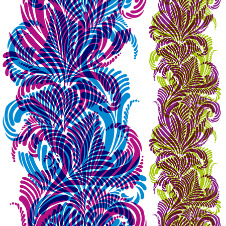 Ornate background with colorful vertical seamless pattern, vector design.