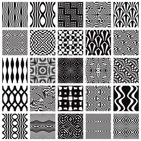 Set of monochrome geometric seamless patterns. Vector backgrounds collection. Vector