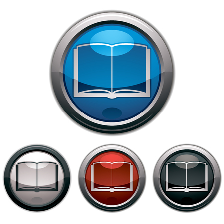 periodicals: Open book - Vector icon, glossy button, colors collection.