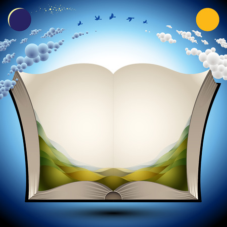 Open book with nature landscape illustration and copy space for your text, vector illustration. Stock Illustratie