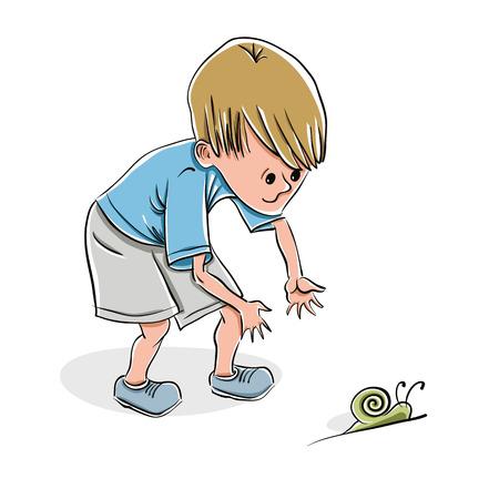 slowly: Niño pequeño que coge un caracol, ilustración vectorial.