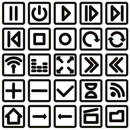 Simplistic single color media buttons set, vector. Vector