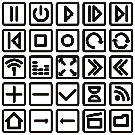 eject: Simplistic single color media buttons set, vector.
