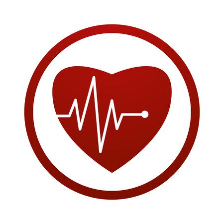 Cardiologie icône avec le coeur et cardiogramme, symbole de vecteur. Vecteurs