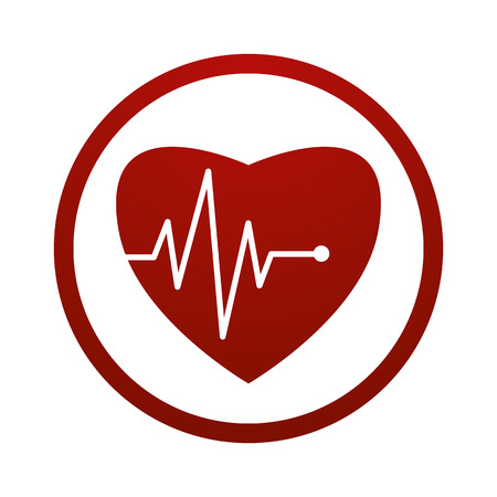 Cardiology icon with heart and cardiogramme, vector symbol.
