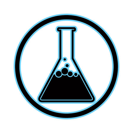 boiling tube: Chemical flask simplistic vector icon.