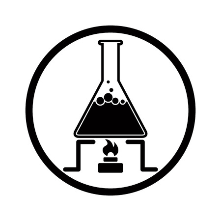 Chemical reaction symbol with flask and fire, monochrome vector icon.