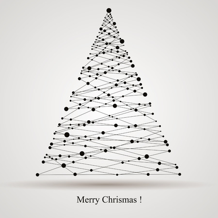 Christmas background with modern digital style Christmas tree, vector card. Illustration
