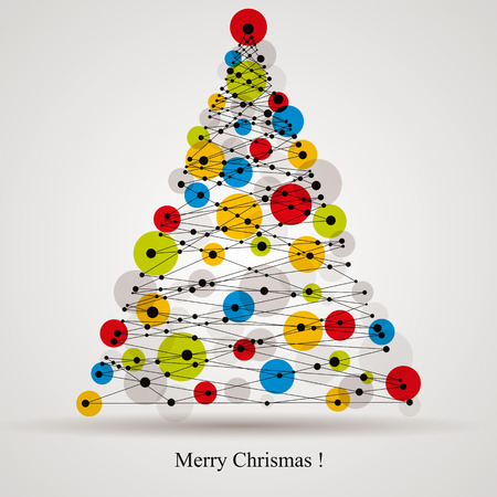 Christmas background with modern digital style Christmas tree, vector card. Ilustração